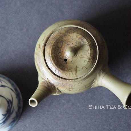 Hakusan 白山急須, Mogake, Green Clay Small size (110ml) Seaweed Japanese Ceramic Kyusu Teapot,