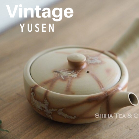 初代小西友仙白泥火襷茶壺急須 Vintage YUSEN(1st) Fire Line Flat Teapot KYUSU