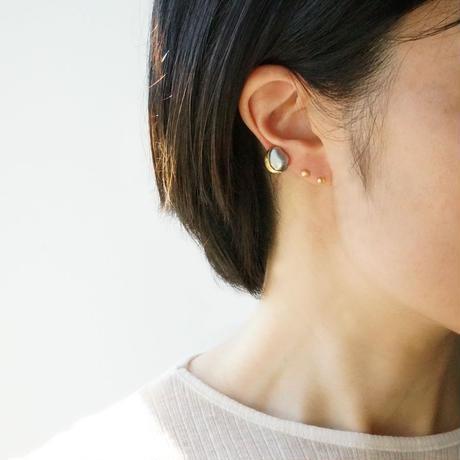Tahitian pearl earring / Crescent / Dia  *Single