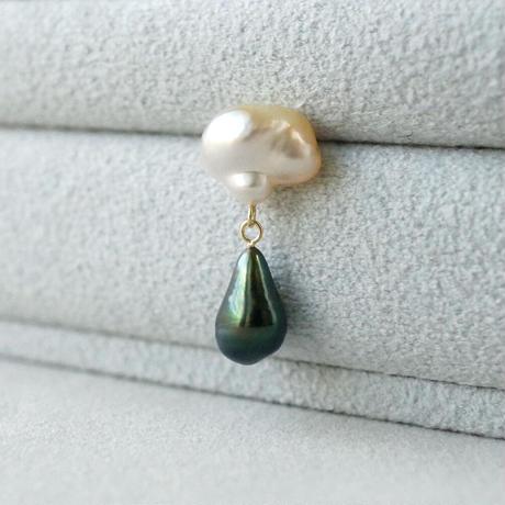 Southsea pearl x Tahitian pearl earring  *Single