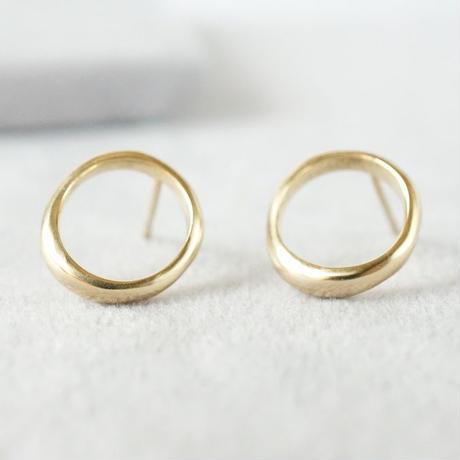K18 Moon halo earrings / Small