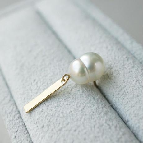Southsea twin pearl earring/plate fringe  *Single