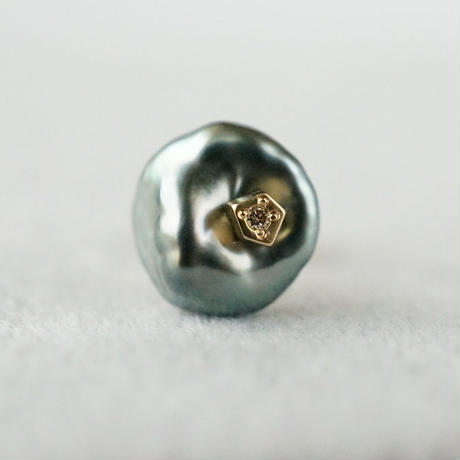 Tahitian pearl earring / Single / Polygon / Dia
