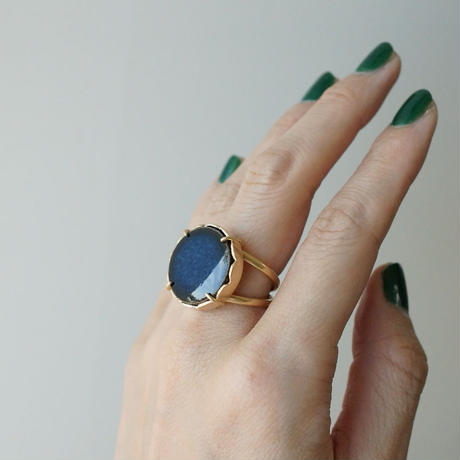 Vintage tile ring / Round / Navy