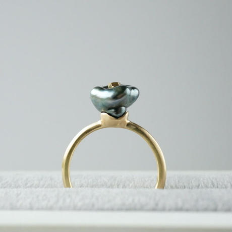 Tahitian pearl ring / Flower / Diamond