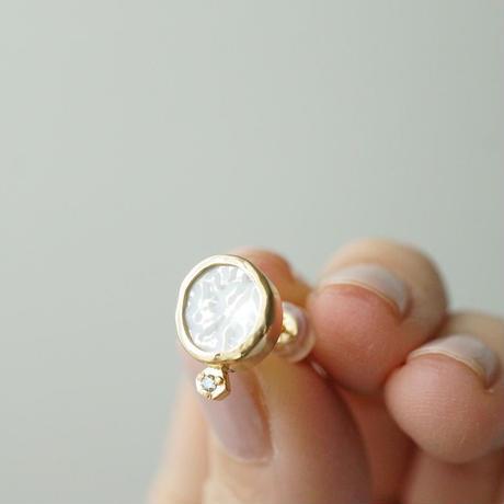 K18 Vintage tile earring / White / Diamond  *Single