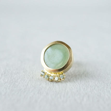 K18 Vintage tile earring/Light_green/Green sapphire  *Single