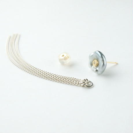 Tahitian pearl earring /Polygon/Dia/Fringe_chain(SV)  *Single