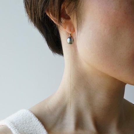 Tahitian pearl earring/Thorn/Ame_chain  *Single