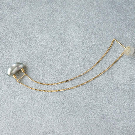 Tahitian pearl earring/chain/horn  *Single
