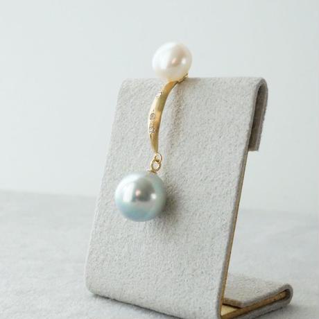 Akoya x Freshwater pearl earring / Dagger / Dia  *Single