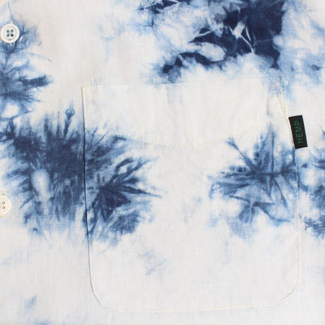 "A HOPE HEMP × JAVARA ""MARBLE"" 開襟シャツ(INDIGO)"