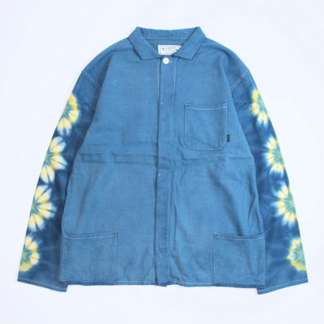 A HOPE HEMP × JAVARA「FLOWER LINE FLY FRONT SHIRTS JKT(BLUE)」