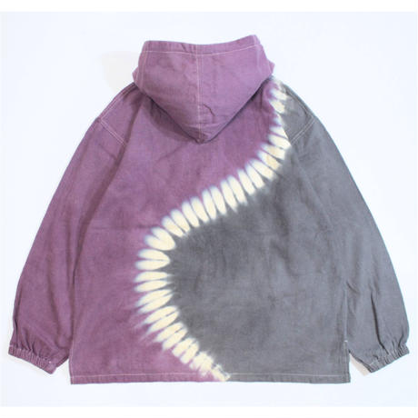"A HOPE HEMP × JAVARA ""S""  HALF ZIP HOOD JKT(PURPLE&GRAY)"