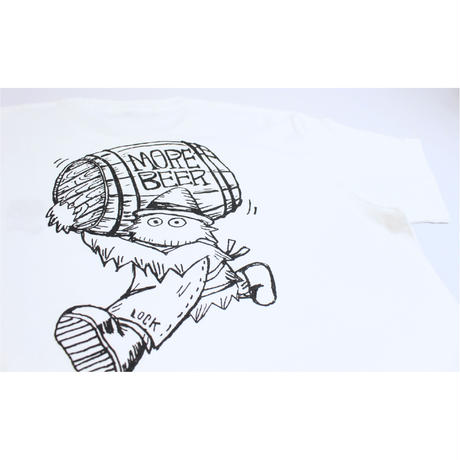 Lock × MORE BEER「BEER BARREL TEE(WHITE)」