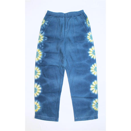 "A HOPE HEMP × JAVARA ""FLOWER LINE""  BAKER EASY PANTS(BLUE)"