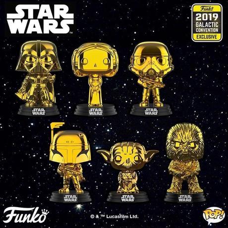 ファンコ  スターウォーズ コンベンション限定ポップ 6種  2019 Funko Star Wars Galactic Convention Exclusives Gold Chrome set