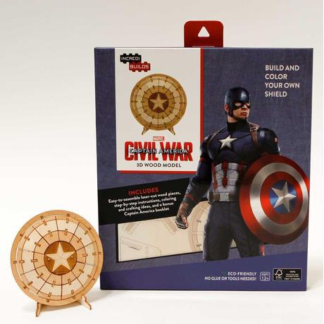 【送料込み】マーベル 木製組立てキット キャプテン・アメリカ シールド  3D Wood Models  Captain America Shield