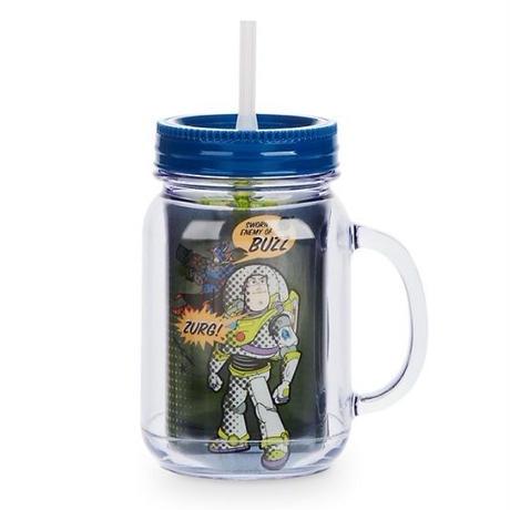 トイストーリー メイソンジャー風のタンブラー Toy Story Jam Jar Cup With Straw