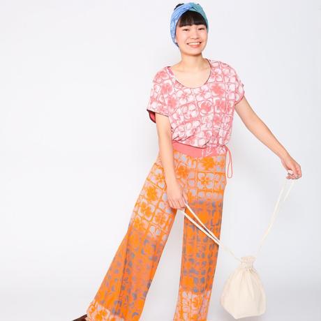 ワイドTシャツ(カーキ・毛糸玉柄)