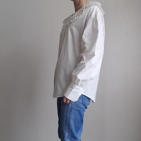 プリーツカラーコットンシャツ