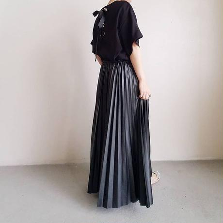 PUプリーツロングスカート
