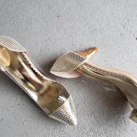 ジーンオリジナル PVCパンプス シャイニーゴールド