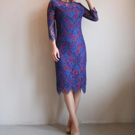 タイトシルエットシアーレースドレス