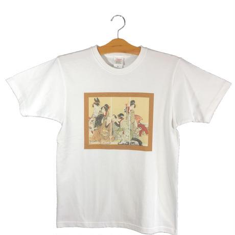 T19-1003 葛飾北斎「隅田川両岸景色図巻」T-シャツ Women 女性用