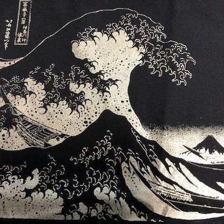 葛飾北斎 富嶽三十六景神奈川沖浪裏 トートバッグ 紺×シルバーpt