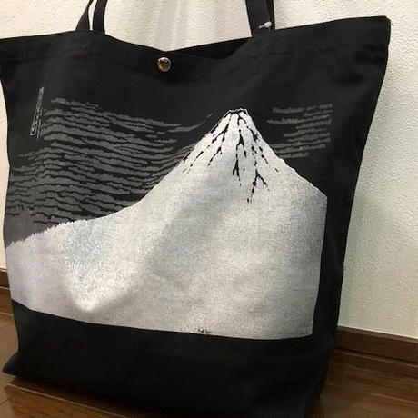 富嶽三十六景 凱風快晴 トートバッグ黒地×シルバーpt