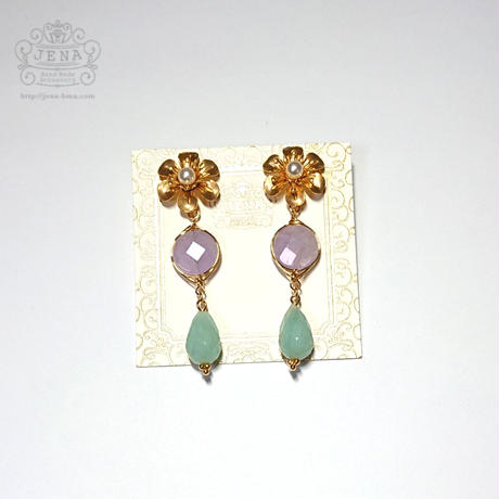 Amethyst × Amazonite Flower  ピアス
