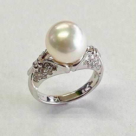 Pt900南洋真珠/ダイヤモンドリング