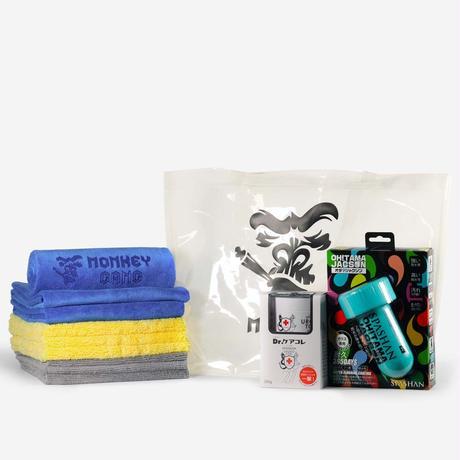 ホワイトセット オタマジャクソン+ウロコトリ+モンキータオル3種 モンキービニールバッグ(白)プレゼント スパシャン SPASHAN