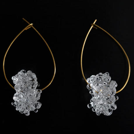 №11  BELLEZA Glass Jewelry  Crystal loop 涙型ピアスゴールド