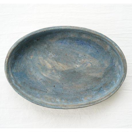 75.水谷智美 炻器 楕円鉢 小 青