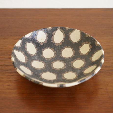 NO.1 田中ちあき 練上げ鉢 フラワーパターン黒