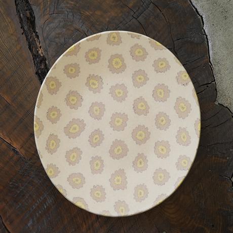 NO.14 田中ちあき  練上げ7寸皿 フラワーパターン黄