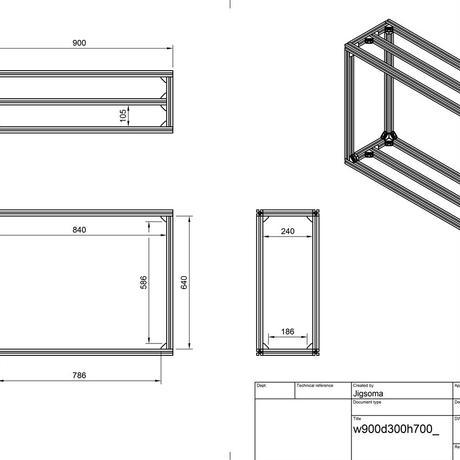 Jigsoma Aqua stand ジグソーマ アクアスタンド W900×D300×H700下段フレーム有り