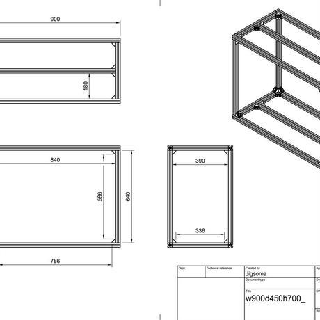 Jigsoma Aqua stand ジグソーマ アクアスタンド W900×D450×H700下段フレーム有り