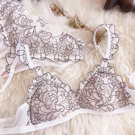 2デザイン 刺繍レースランジェリー