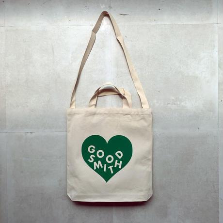 "LOVE TOTE BAG ""NATURAL GREEN"""