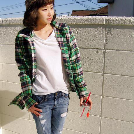 グリーンチェックロングシャツ