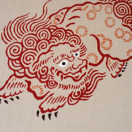 染名古屋帯 獅子(赤)ベージュ地