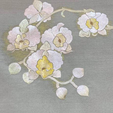 刺繍袋帯 胡蝶蘭 仕立上がり