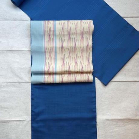 本藍染花織入り紬