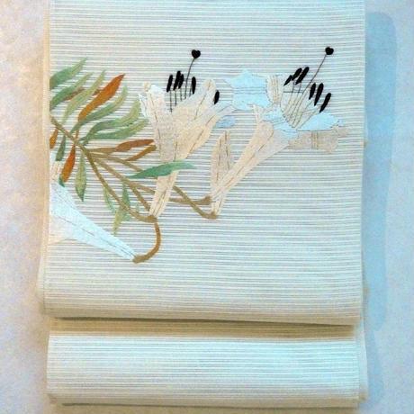 【定価418000円】夏帯 絽つづれ刺繍 百合