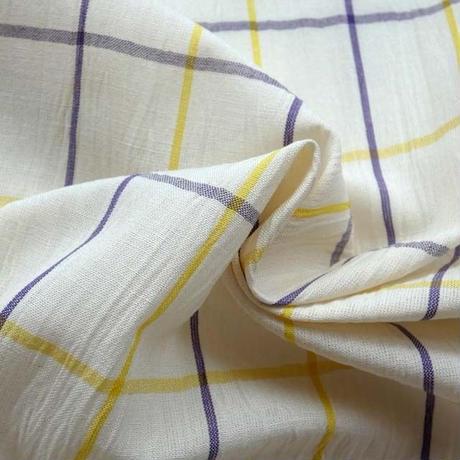 綿麻 白地黄色紫格子