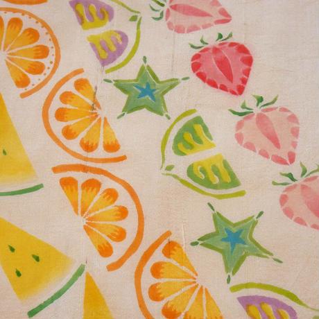 夏帯 フルーツ一杯型絵染