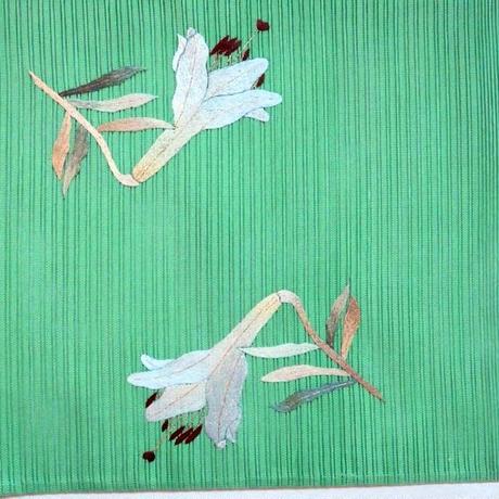 夏帯 絽つづれ百合の刺繍